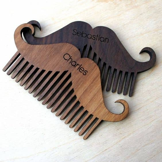 mustache beard comb laser engraved and cut