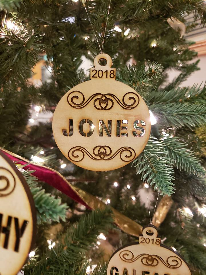 Laser engraved and cut ornament
