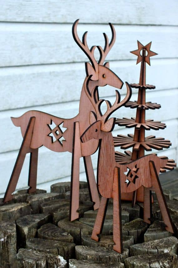 3D laser cut deer and tree