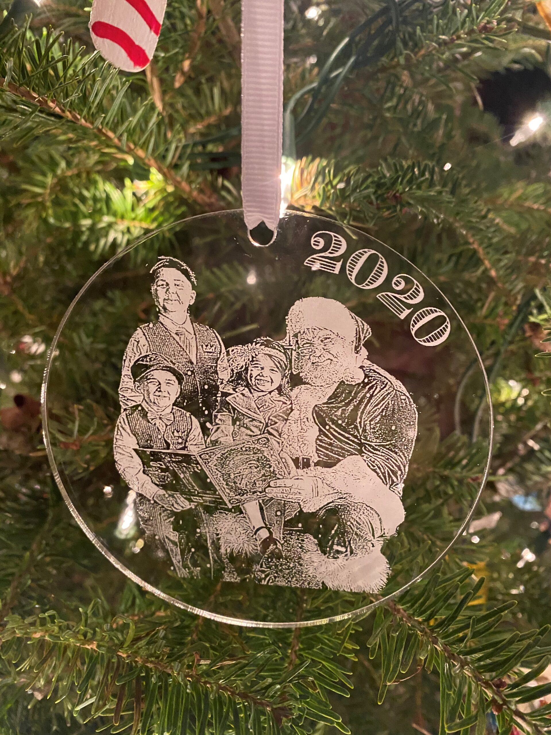 Laser etched Christmas ornament