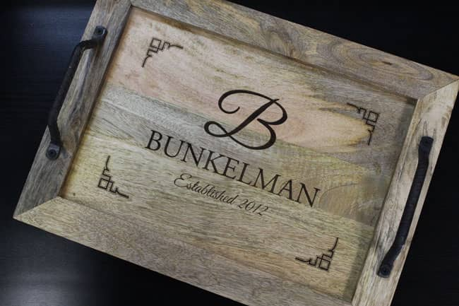 laser engraved wood tray