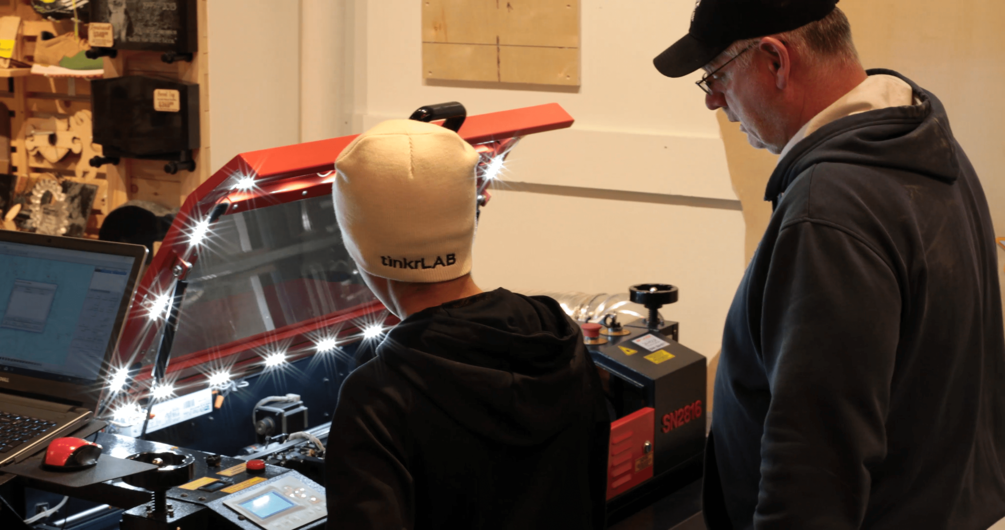 father and son learning AP Lazer