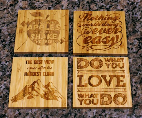 Bamboo Coasters 4&Quot;X4&Quot; (Set Of 4 With Bamboo Holder)-1130