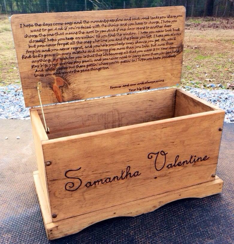 Laser engraved toy box
