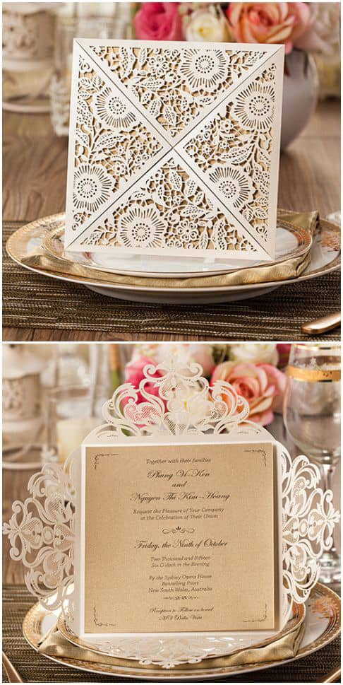 Laser Cut Paper Wedding Invites