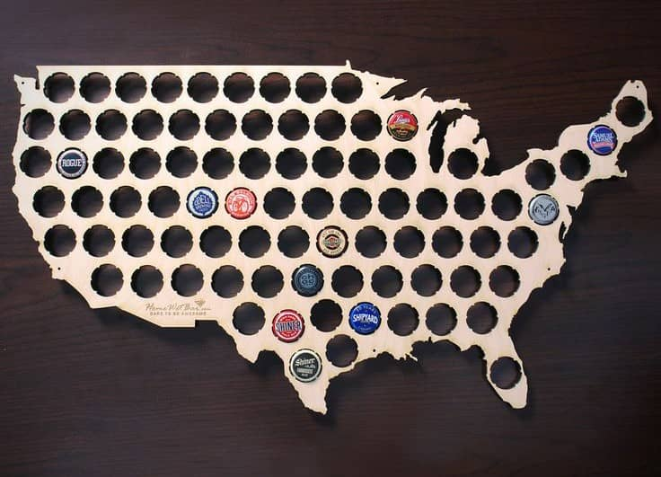 beer cap US map