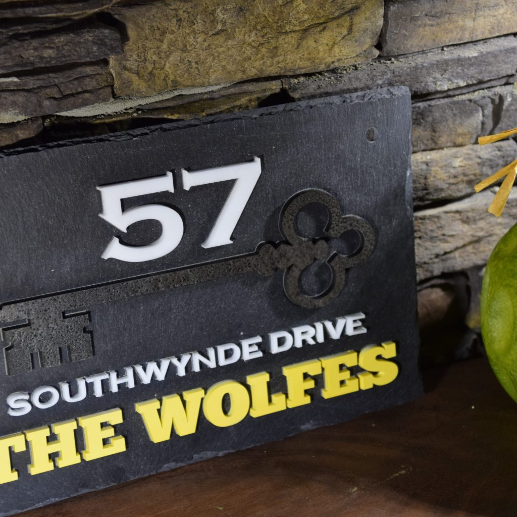 Slate sign with laser cut text