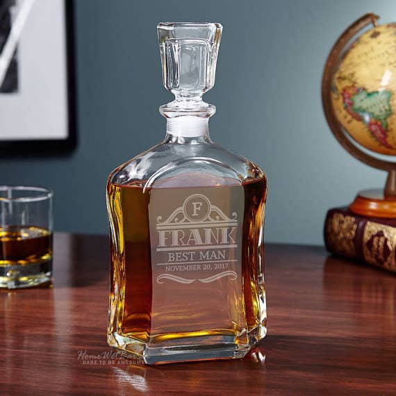 personalized liquor decanter created with a laser cutting machine