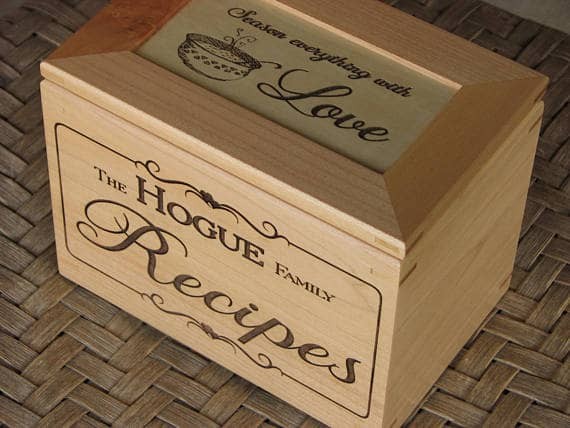 Personalized Recipe Box Created With A Laser Cutting Machine