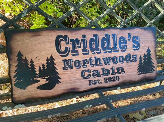 laser engraved wooden sign created with a laser cutting machine