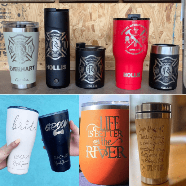 Laser engraved tumblers