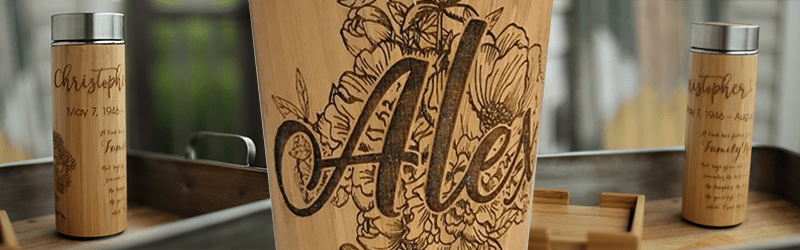 laser engraved bamboo tumblers
