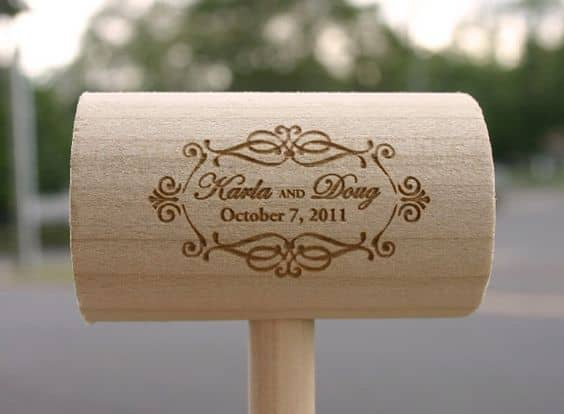 wedding engraved mallet