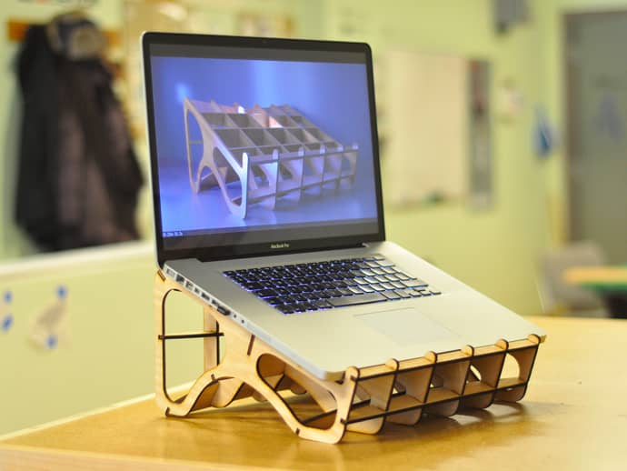 laser cut wood laptop stand
