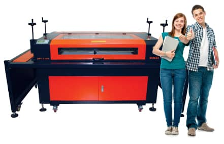 students with laser machine